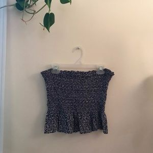 Blue Floral Tube Top